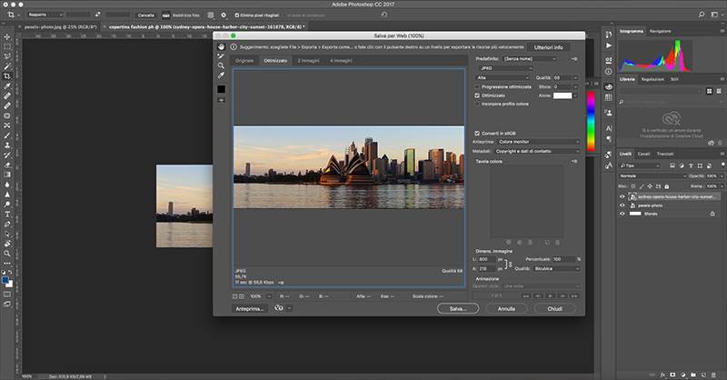 Fase di editing fotografia paesaggistica in photoshop